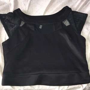 brand new black mesh cutout shirt